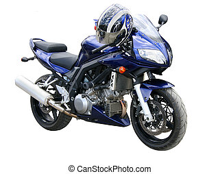 Dark blue motorcycle. - The motorcyclist in a helmet and a...