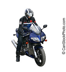 motorcyclist. - The motorcyclist in a helmet and a jacket...