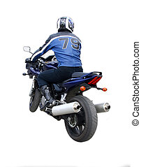 The motorcyclist in a helmet and a jacket goes on a...