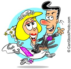 Just Married - Cartoon of just married bride carrying off...