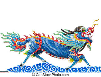 Chinese style blue dragon statue at roof temple isolate on...