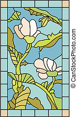 Floral Stained Glass - Stained glass template with magnolia...