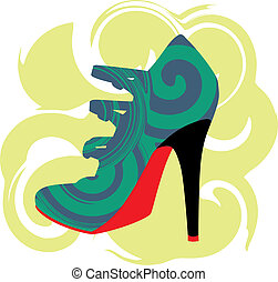 Woman Shoe, Vector illustration