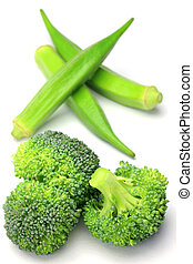 okra and broccoli - I took okra and broccoli in a white...