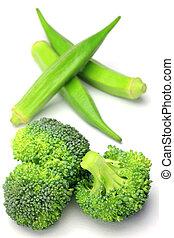 okra and broccoli - I took okra and broccoli in a white...