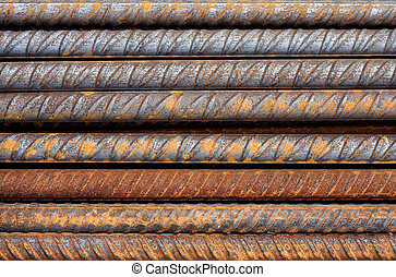 Rusty Rebar Rods Metallic Pattern - Thick rusty rebar rods...