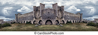 Mighty Medieval City Wall defences. Panorama - Mighty...