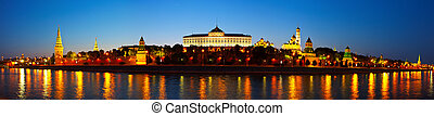 Panorama of Moscow Kremlin in night. Russia - Panorama of...