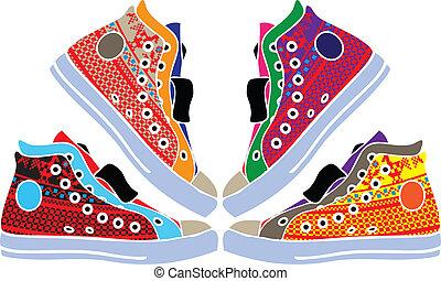 Extracto, deporte, zapatos