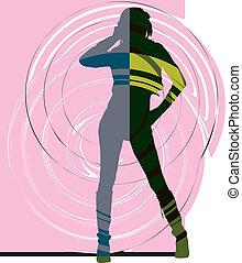 Dancing girl, vector illustration