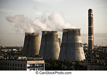 Thermal power station - three stacks of city thermal power...