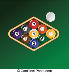 Nine Ball Racked - Illustration of a rack of nine ball pool...