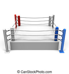 Boxing Ring 3D render illustration Isolated on White