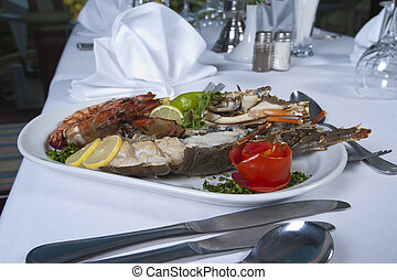 Seafood meal in an a la carte restaurant - Seafood meal...