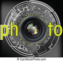 Professional photo lens Editable vector illustration