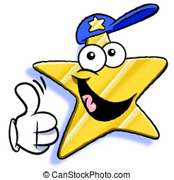 Thumb up star. - Cartoon star giving thumb up sign. Isolated...