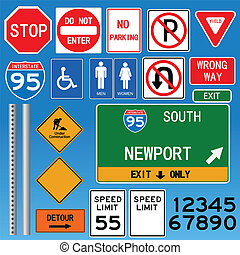 Road Signs Vector Illustration