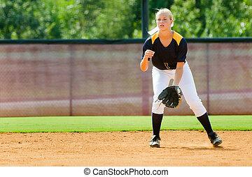 年輕, 青少年, 女孩, 玩, 壘球, 組織, 游戲