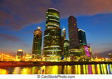 Moscow City buildings in summer night - Wide angle view on...