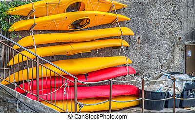 Canoe for rent at Riomaggiore, Conque Terre, Italy