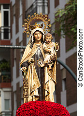 Virgen del Carmen - Religious image of the Virgin during the...