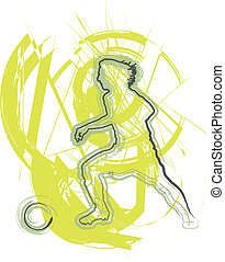 Football player in action. Vector