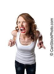 agressivo, mulher, tanque, topo, grito, isolado