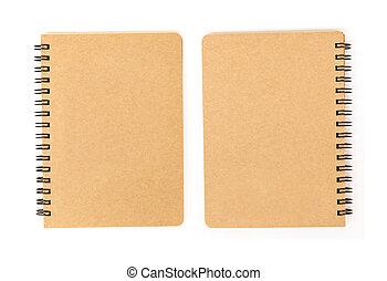 em branco, cobertura, caderno, frente, costas