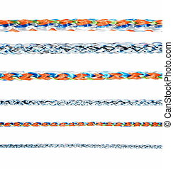 colorful various ropes isolated on white background,...