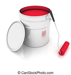 bucket with red paint and roller - open bucket with red...