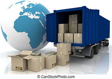 container of truck with boxes on white
