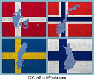 Flags and maps of Scandinavian countries on a sackcloth