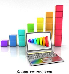 3d laptop with chart on a background of illustration...