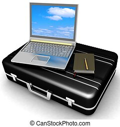 silvery laptop and notepad with pen on black case isolated...