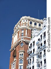 Buildings of Madrid - Facades in Callao square, Madrid,...