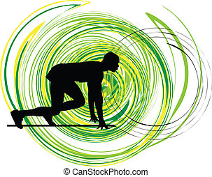 Runner in start position Illustration