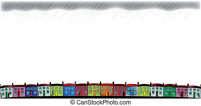 Rainy Day Cottages - A row of colorful, neat cottages with...