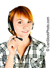 woman with headset isolated on a white background
