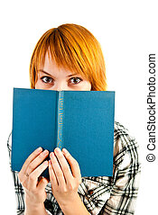 woman looking over book isolated on a white background