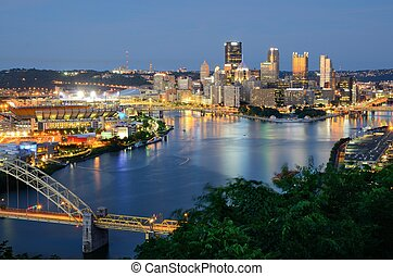 Pittsburgh Skyline - West End Bridge and downtown...