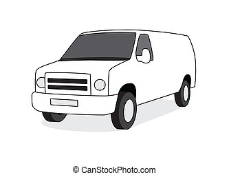 Delivery van front view vector illustration - Delivery van...