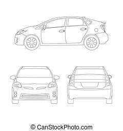 Medium size city car line art style vector illustration -...