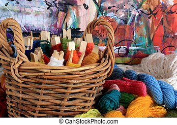 Colorful Basket of Yarn - A collection of colorful yarn in...