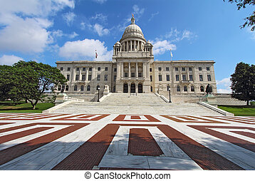 The Rhode Island State House on Capitol Hill in Providence -...