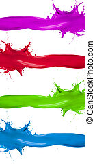 Various kinds of colored paints splashesbanners isolated on...