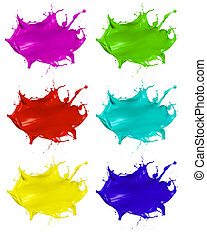 Paint splashes shots of colored blots on the white...