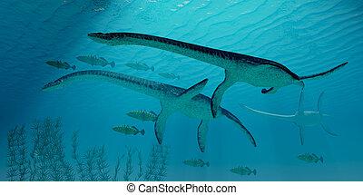 Plesiosaurus Migration - Three Plesiosaurus dinosaurs...