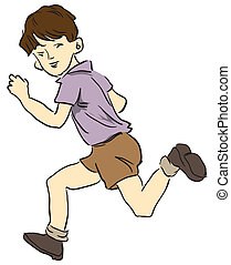 Running a child - Picture a child running in shorts. Vector...