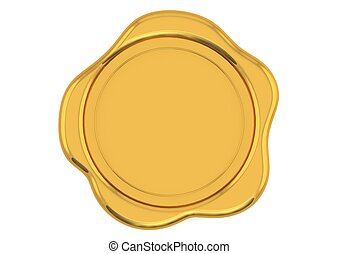 Gold wax seal - Rendered artwork with white background