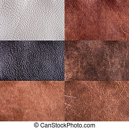 collection of leather textures set for background